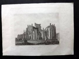 Bower C1830 Antique Print. Melrose Abbey from the South East, Scotland